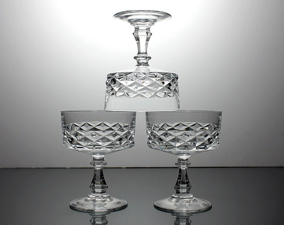 Crystal Sherbet Champagne Stemware, Cristal D'Arques-Durand, Diamond, Set of 3, Discontinued, Barware, Dessert Glasses