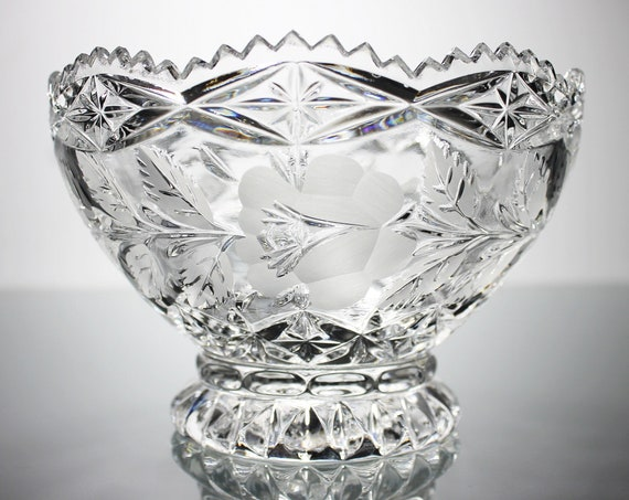 Lausitzer Crystal Footed Bowl,  Heavy Hand Cut Glass, Floral and Leaf Design, Centerpiece, Collectible