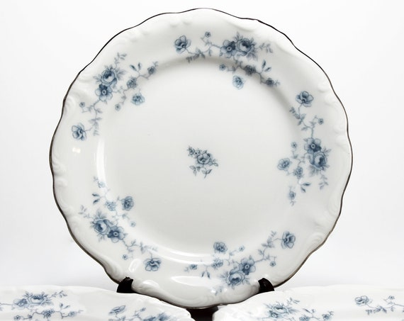 Bread and Butter Plates, Johann Haviland, Blue Garland, Bavarian Backstamp, Floral Pattern, Set of Three, Fine China, Discontinued