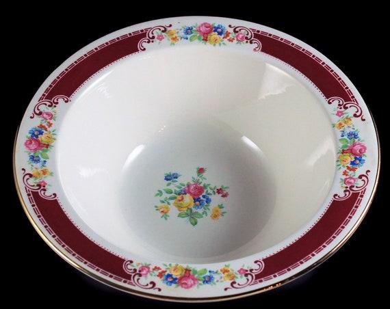 Vegetable Bowl, Homer Laughlin, Majestic, Brittany Shape, Multicolor Floral, Burgundy Band