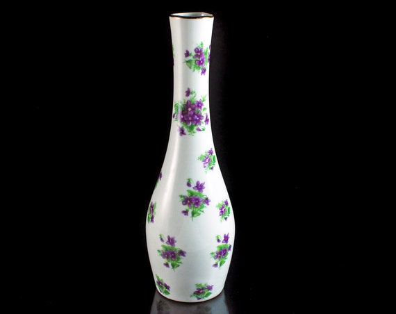 Lefton Bud Vase, Violet Clusters, Gold Trimmed, Discontinued, Collectible