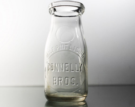 Connelly Dairy Milk Bottle, Half Pint, Embossed, Schenectady N. Y., Collectible, Clear Glass