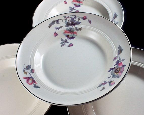 Soup Bowls, Symphony by Salem, Platinum Gold, Floral Pattern, Set of 4, Serving Bowls, Porcelain