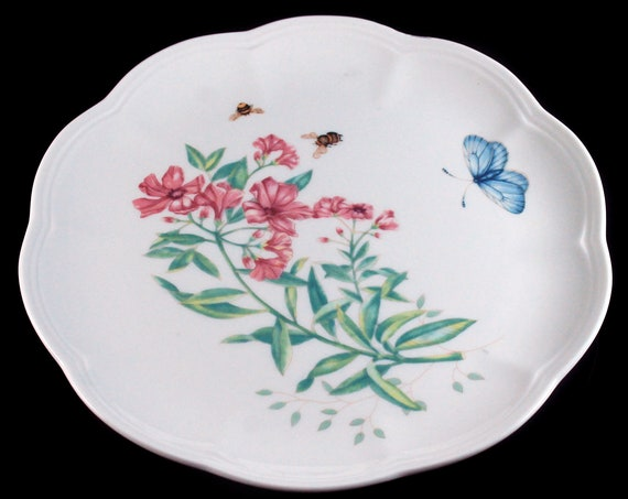 Luncheon Plate, Lenox, Butterfly Meadow, Swallowtail, Pink Floral, Butterflies and Bees