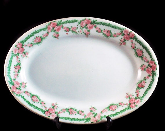 Antique Relish Platter, John Maddock and Sons, England, Vitreous, Pink Floral, Restaurant Grade