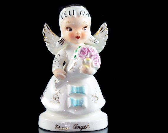 Angel Figurine, May Angel, Birthday Month, Collectible, Porcelain, Angel with Bouquet, Artmark