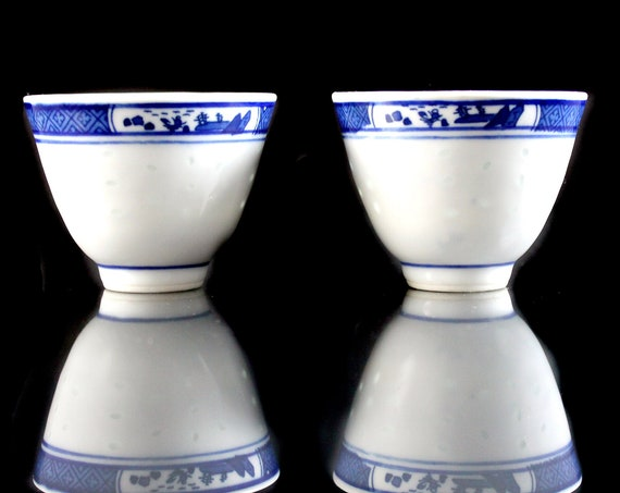 Sake Cups, Jingdezhen Make, Pagoda Scene, Blue and White, Set of Two, Porcelain