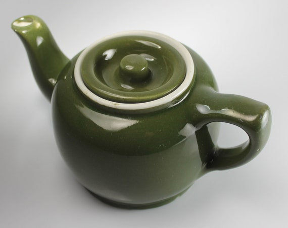 Hall Teapot, Green, Boston Shape, Individual, 1 Cup, Sunken Cover, Collectible, Small Teapot
