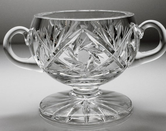 Crystal Footed Sugar Bowl, Cut Glass, Pinwheel, Two Handled, Heavy Crystal