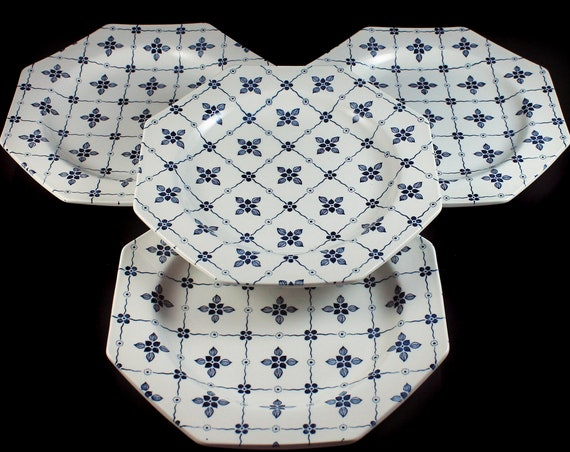 Dinner Plates, J & G Meakin, Homespun, Ironstone, Blue Floral and Squares, Octagon, Set of 4