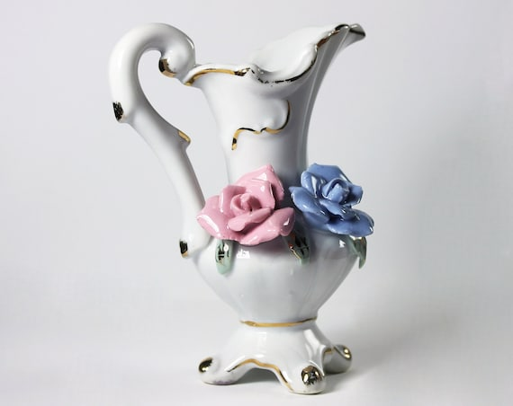 Miniature Raised Rose Pitcher, Collectible, Gold Trimmed, Miniature Vase