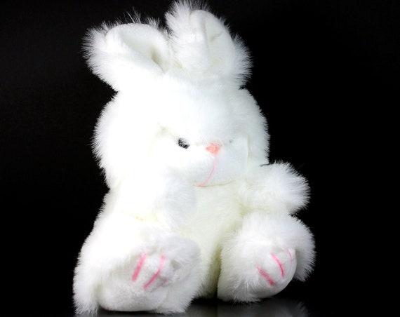 Plush Bunny Stuffed Animal, World of Smile International, 1987 Vintage,  Gift Idea, Baby Shower, White, Child's, Nursery Decor