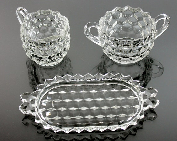 Sugar Creamer and Tray, Fostoria, American, Cubed, Tableware, Discontinued