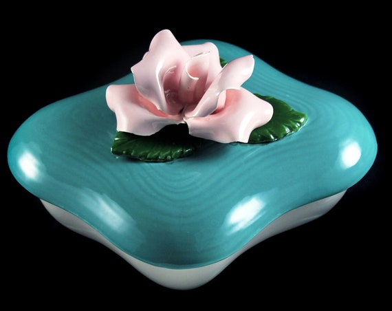 Raised Rose Trinket Box, Vanity Box, Powder Box, Made in the USA, Hand Painted, Porcelain