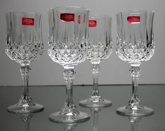 Crystal Wine Glasses, Cristal D'Arques-Durand, Longchamp, Cut Crystal, Set of 4, In Box, Barware