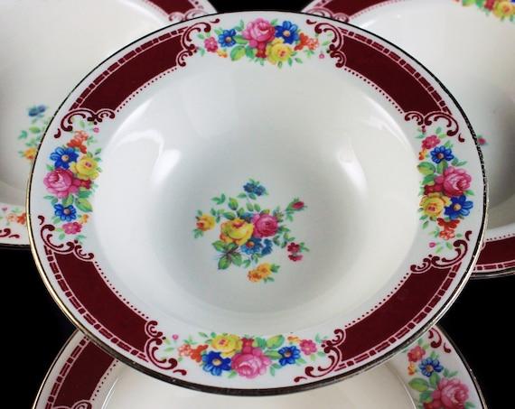 Fruit Bowls, Homer Laughlin, Majestic, Brittany Shape, Set of 4, Multicolor Floral, Burgundy Band