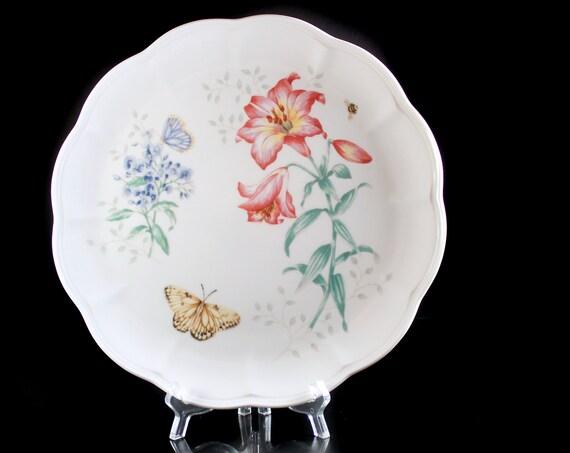 Dinner Plate, Lenox, Butterfly Meadow, Fritillary, Blue and Pink Floral, Butterflies