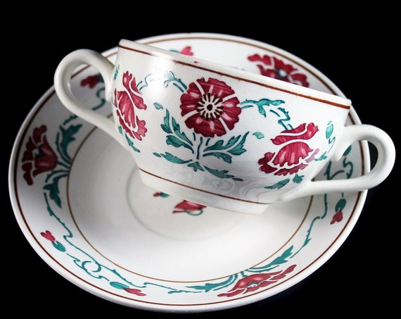 Antique Bouillon Cup and Saucer, Villeroy & Boch, Saxony, Dresden, Red Flowers, Made in Germany