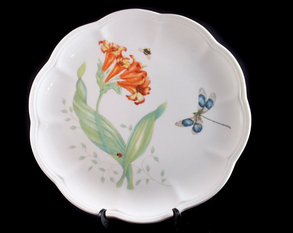 Luncheon Plate, Lenox, Butterfly Meadow, Dragonfly, Orange Floral, Ladybug and Bee