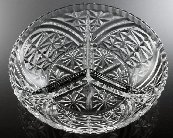 Round Divided Relish Tray, Anchor Hocking, Pressed Glass, Stars and Bars Pattern, Serving Tray