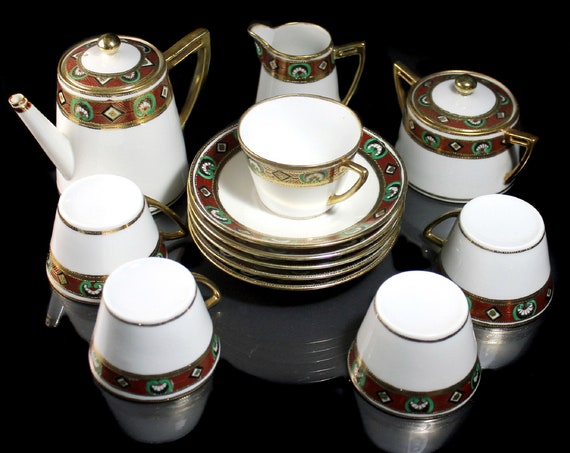 Antique Demitasse Tea Set, AA Vantine, Teapot, 5 Cups and Saucers, Sugar and Creamer, Moriage Design, Circa 1918, Hand Painted, Collectible