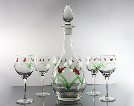 Tall Floral Decanter Set, Six Wine Glasses, Hand Painted, Original Stopper, 15 Inch, Clear Glass, Barware
