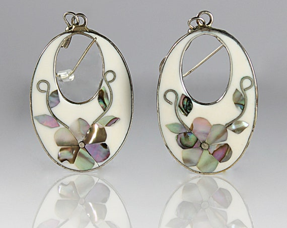 Abalone Inlaid Teardrop Earrings, French Hooks, Fashion Jewelry, Costume Jewelry