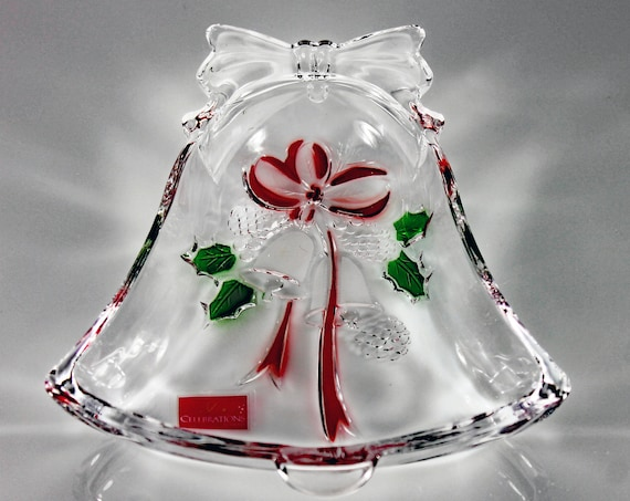 Mikasa Bell Bowl, Celebrations, Holiday Bells, Candy Dish, Nut Bowl, Holiday Dish, Christmas Bowl, Pressed Glass