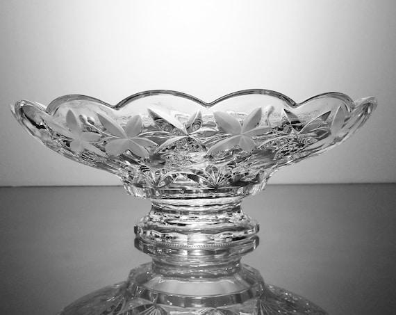 Footed Crystal Compote, Grapevine Pattern, Clear Glass, Centerpiece, Display, Fruit Bowl