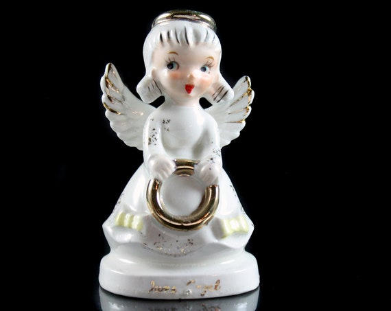 Angel Figurine, June Angel, Birthday Month, Collectible, Porcelain, Angel with Bouquet, Artmark