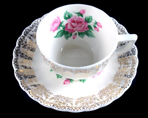 Cup  and Saucer, Sebring Pottery, China Bouquet, Teacup, Porcelain, Gold Filigree, Pink Roses