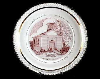 Church Commemorative Plate, Van Cortlandtville Community Church, Red Graphics, Gold Trim, Collectible