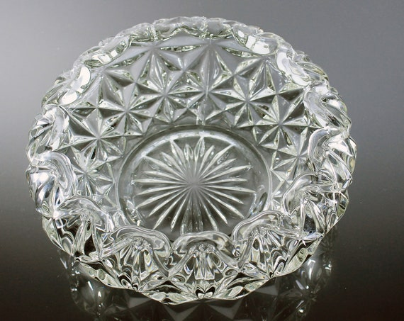 Pressed Glass Bowl, Imperial Glass, Mt Vernon Clear, Folded Edge, Centerpiece, Fruit Bowl, Serving Bowl