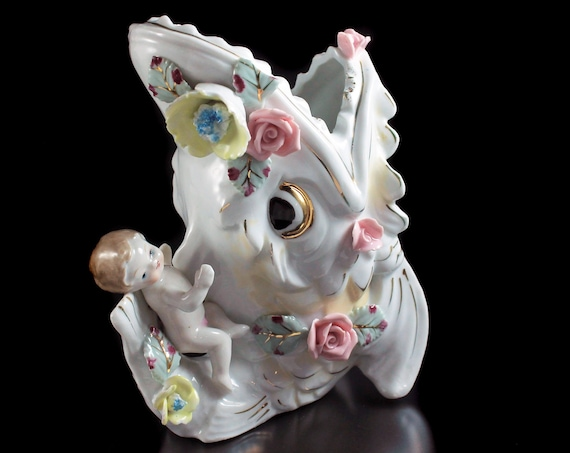 Fish Planter with Baby, Raised Flowers, White and gold, Porcelain, Figurine, Collectible, Decor