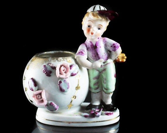 Boy Baseball Player Planter, Sphinx Japan, Raised Flowers, White and gold, Porcelain, Figurine, Collectible, Decor