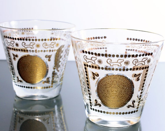 Rock Glasses, Aztec Medallion, Gold and White, Barware, Drinking Glasses