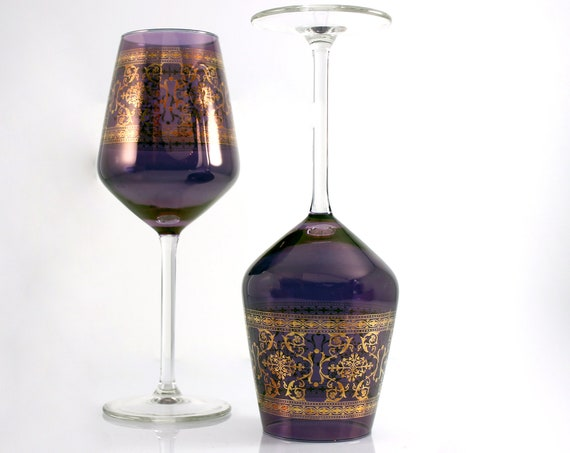 Gold Filigree Wine Glasses, Plum Bowl, Clear Stems, Set of Two, Stemware, Barware