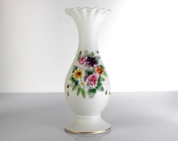 Raised Floral Bud Vase, Lefton, Gold Trimmed, Bisque Porcelain, Collectible, Footed, Giftware, 6 inch
