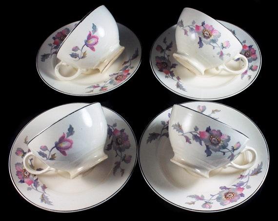 Cups and Saucers, Symphony by Salem, Platinum Gold, Floral Pattern, Set of 4, Porcelain