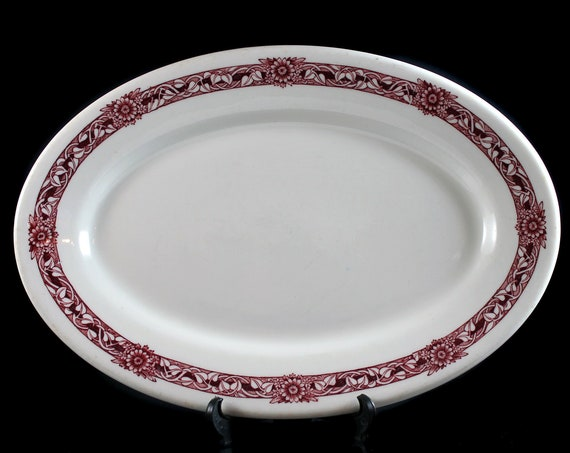 Relish Platter, McNicol China, Red Floral, Restaurant Grade, 10 Inch