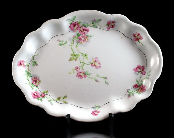 Antique Platter, Homer Laughlin, Hudson, 10 Inch Platter, Rose Floral Pattern, Fine China
