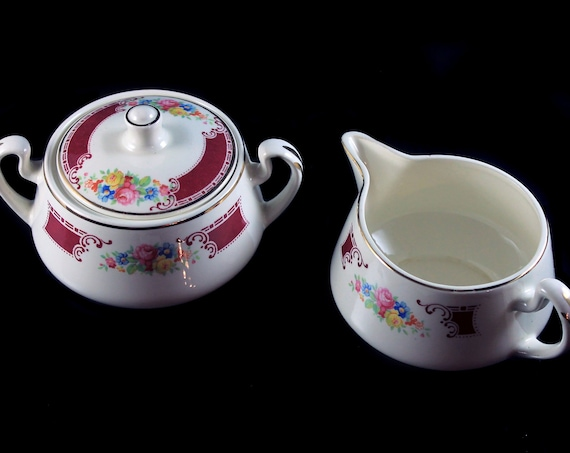 Sugar Bowl and Creamer, Homer Laughlin, Majestic, Brittany Shape, Multicolor Floral, Burgundy Band