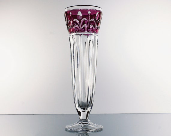 Crystal d'Adriana Vase, Ruby Flash, 24K Leaded Crystal, Swag Pattern, Clear Glass, Giftware