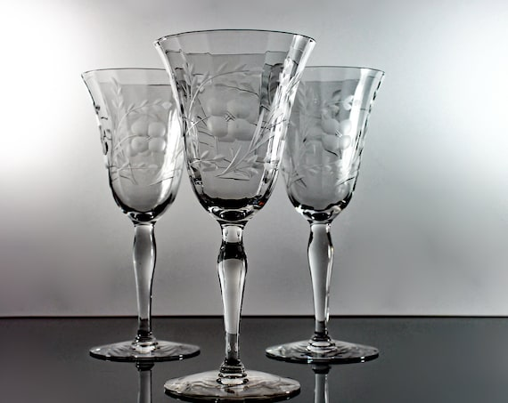 Wheel Cut Wine Glasses, Optic, Floral and Leaf Design, Set of Three, Barware