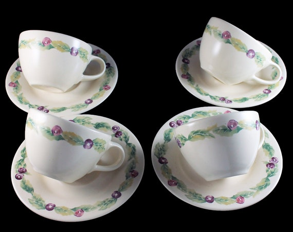 Flat Cup and Saucer,  Pfaltzgraff, Jamberry, Fruit Design, Stoneware, Set of Four, Discontinued