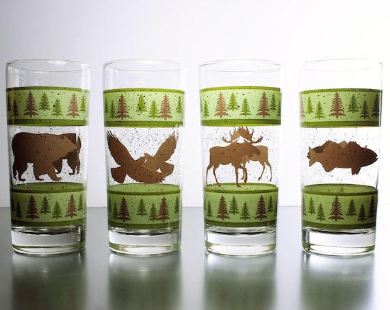 Rustic Wildlife Tumblers, Green and Brown, Silhouette, Drinking Glasses, Iced Tea Glasses, Set of 4, Barware