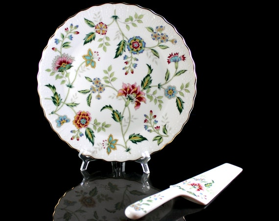 Cake Plate with Spatula, Andrea by Sadek, Buckingham, In Box, Multi Floral, Discontinued
