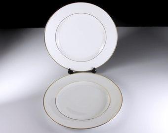 Johann Haviland Salad Plates, Bavaria, Golden Band, White and Gold, Set of 2, Fine China