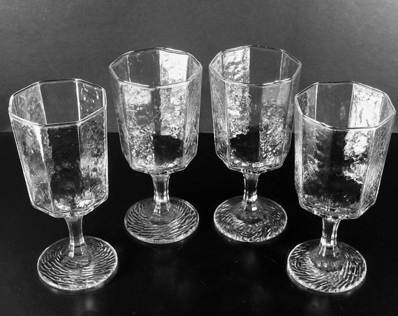 Water Goblets, Libbey Glass Co., Facets Clear, Set of 4, Textured, Water Glasses, Barware, Stemware