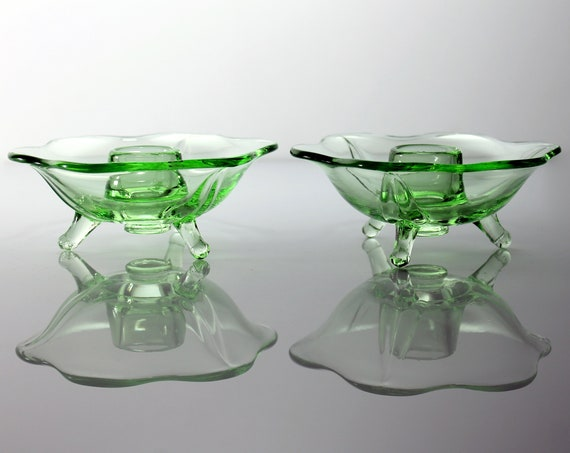 Fenton Candlesticks, Vaseline Glass, Uranium Glass, Three Toed, Depression Glass, Scalloped Edge, Discontinued